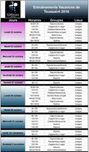 Planning vacances Toussaint 2018